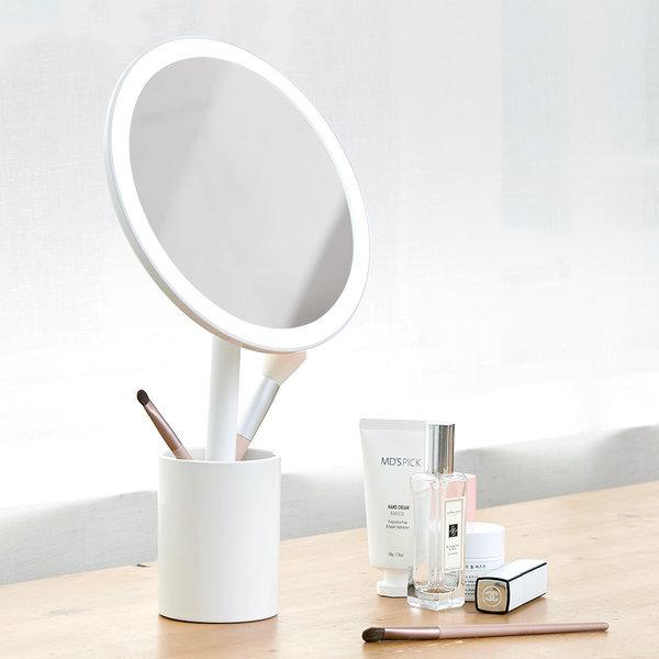 트윙클 무선 LED 조명 화장대 탁상 스탠드 원형 거울