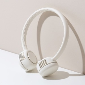 넥밴드 휴대용 선풍기 크림화이트