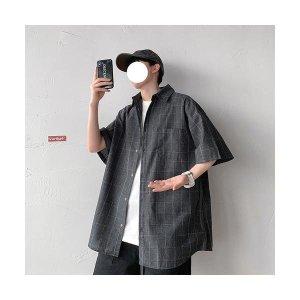 남성 빅사이즈 체크 캐주얼 얇은 반팔 셔츠 남방 ~5XL