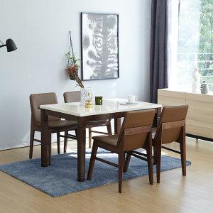빈츠 대리석 4인식탁세트 제니스 모카 내츄럴 의자형