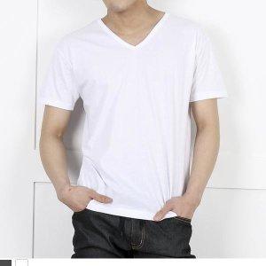 DGI1824 남자기본브이반팔면티셔츠
