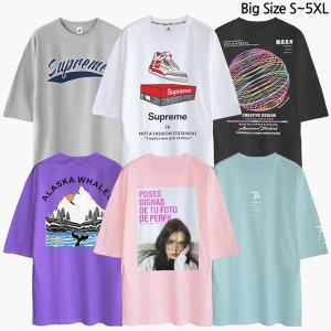 빅사이즈 S~5XL 반팔티 티셔츠 오버핏 남자 남성 여성