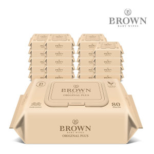 브라운 아기물티슈 오리지널 플러스 80매 캡 10+10팩