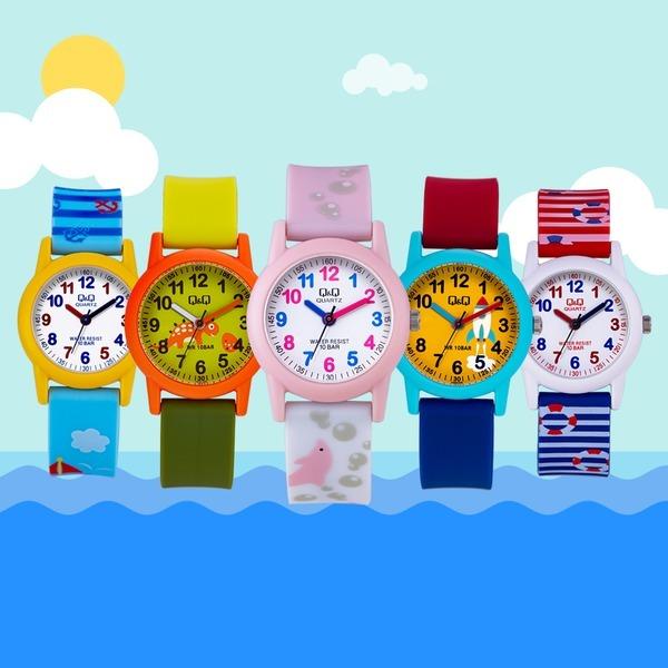 큐앤큐 새학기 어린이집 생일 패션 방수 어린이시계