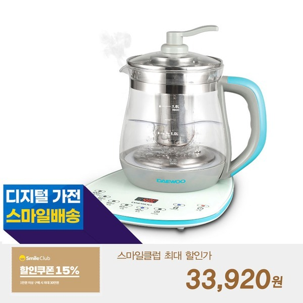 대우 유리 전기 티포트 1.8리터 차 주전자 티메이커