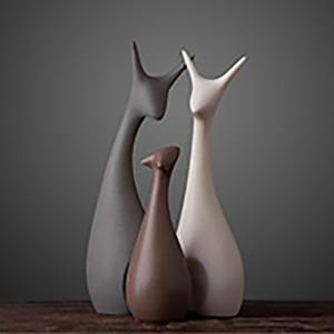 도자기인형사슴상 조각상촬영용소품꽃사슴세사슴