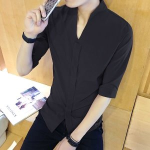 남자 캐주얼 5부 소매 슬림 여름 셔츠 SH