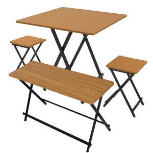 까사마루 오드리 접이식 테이블(테이블1+의자2+벤치1