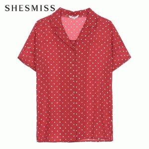 쉬즈미스 인기 버튼다운 V넥 도트 셔츠 SWWSTK22070