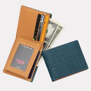 악어무늬 통가죽 콤비 남자반지갑(청록색)w24021