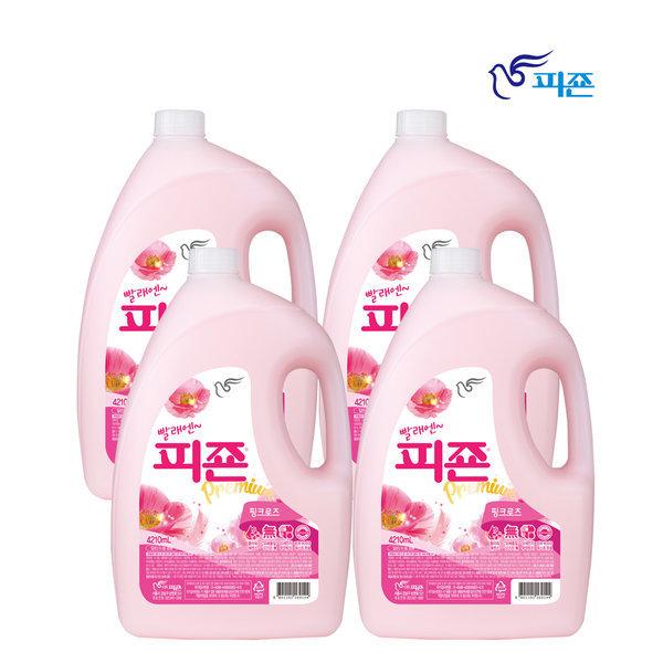 피죤 섬유유연제 4210ML 4개 핑크로즈