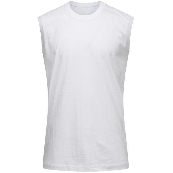 기본 라운드 30수 민소매 흰색 학생티셔츠