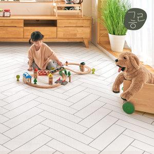 강아지 반려견 롤매트 헤링본화이트 110x100cm