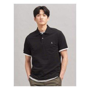 빈폴  Unisex 블랙 배색 로고 칼라 티셔츠 (BC0242A015)