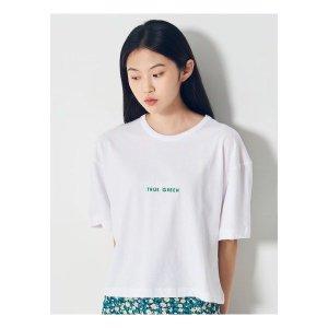 에잇세컨즈  화이트 코튼 자수 레터링 반소매 티셔츠 (160742GY11)