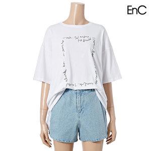 스퀘어 레터링 루즈핏 티셔츠 (ENLW03711Z)