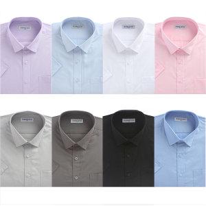 솔리드셔츠 남성 일반핏 반팔 무지 와이셔츠