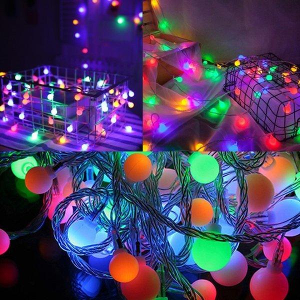 LED 컬러 앵두전구 40구 6m (건전지타입) 캠핑전구