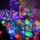 LED 컬러 앵두전구 80구 10m (건전지타입) 캠핑전구