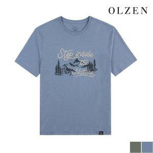올젠  히말라야 일러스트 반팔 티셔츠 (ZAX3TR1175)