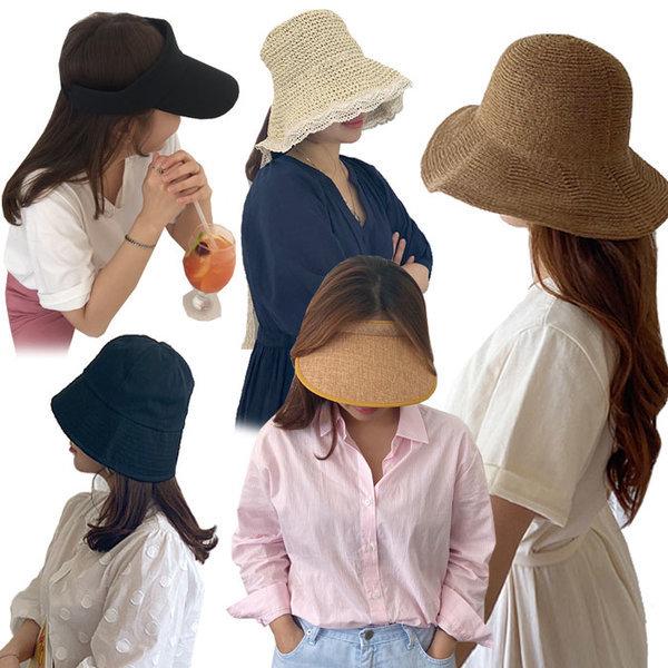 돌돌이 썬캡 여름 모자 밀짚 버킷 햇 가방 라탄
