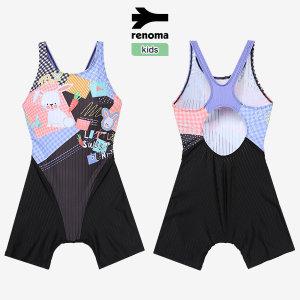 레노마 수영복  여아동 크랙배색 X백라인 4부 실내 반신수영복_RN-GS20854