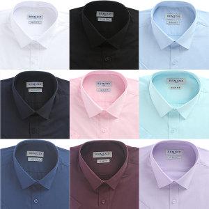 솔리드셔츠 남성 슬림핏 반팔 무지 와이셔츠