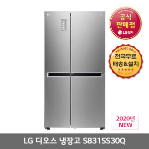 LG전자 LG 디오스 양문형 냉장고 S831SS30Q 821L