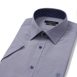 루이까또즈 19 블루 슬림핏 반팔셔츠(Q9E042)