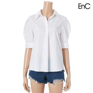 카라 셔츠 기본 퍼프 반팔블라우스 (ENBA02669Z)