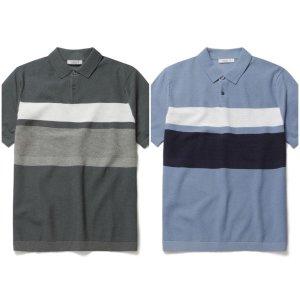 올젠 워셔블반팔 블록 스웨터 티셔츠ZOA2ET1102