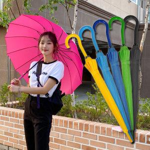 장마대비 튼튼한 솔리드 컬러 자동 장우산 인쇄가능
