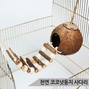 천연 코코넛둥지 나무사다리 그네 앵무새 장난감