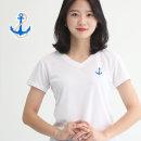 여성 쿨론 기능성 브이넥 닻자수 반팔 쿨 티셔츠