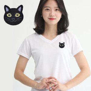 여성 쿨론 기능성 브이넥 고양이자수 반팔 쿨 티셔츠