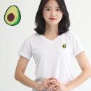 여성 쿨론 기능성 브이넥 아보카도 반팔 쿨 티셔츠