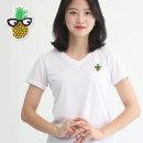여성 쿨론 기능성 브이넥 파인애플 반팔 쿨 티셔츠