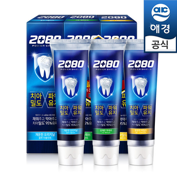 2080 파워쉴드치약 120gx6개(블루2+그린2+골드2)