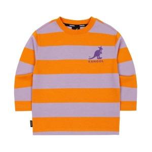 (현대백화점) R캉골키즈 AMCCRT01070OG 와이드 스트라이트 티셔츠 0107 오렌지(남아 여아 티셔츠 남아 여아