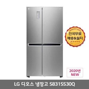 LG전자디오스 양문형 냉장고 S831SS30Q 821L