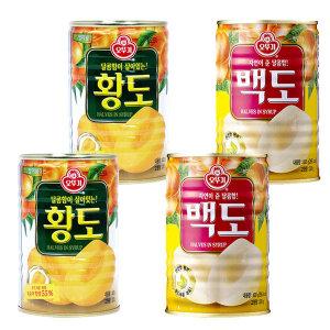 복숭아 과일통조림 400g 황도2개 + 백도2개 무료배송
