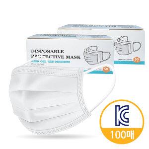 국내 인증 일회용마스크 100매 3중차단 필터 화이트