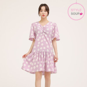 프론트 셔링 플로럴 드레스(SW4OPE9)