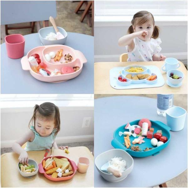 빈지오 실리콘 흡착 유아 식기 매트 4종세트 12종류
