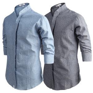 남자셔츠/남방/차이나셔츠 댄디한 데님차이나 7부셔츠