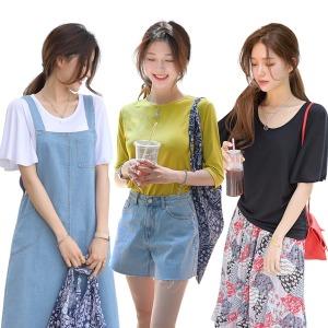 데일리앤 여름 여리 기본 티셔츠 무지티 반팔 레터링