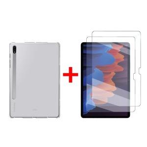 2+1 갤럭시탭S7 S7플러스 젤리케이스+강화유리필름2매