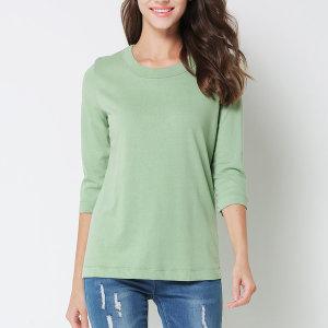 여성 오가닉7부 티셔츠 라운드 여성의류 기본면티