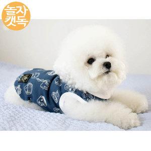 강아지옷 페이스 칼라티셔츠 네이비 그레이 사계절용