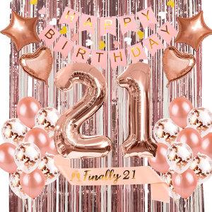 생일파티 용품 커튼 가랜드 어깨끈 풍선 세트 핑크